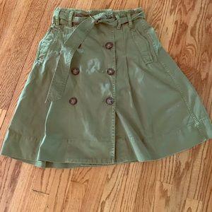 J Crew green midi cargo skirt